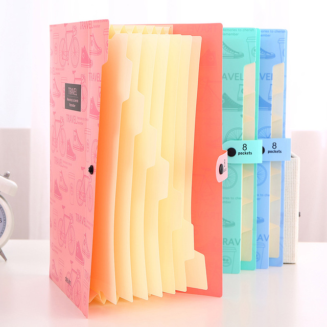 Deli 5737 Cute stationery File Folder A4 8 pocket waterproof Expanding Wallet Convenient Manage Holder Document expanding wallet