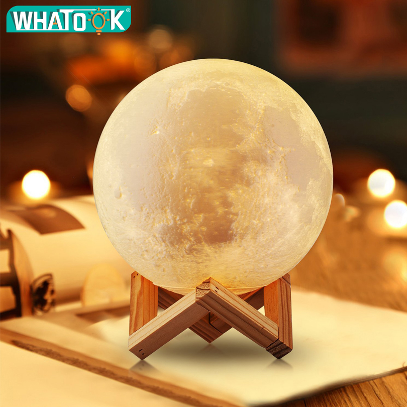 Rechargeable LED Night Lights 3D Print Moon Lamp 2 Colors Change USB Touch Sensor <font><b>Luna</b></font> Home Decor Bookcase Baby Creative Gifts image