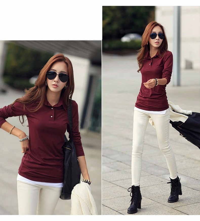 Spring Autumn Casual Polo Women 2016 New Long Sleeve Slim Polos Mujer Black White Red Tops Plus Size Lady Polo Shirt Femme A558 c