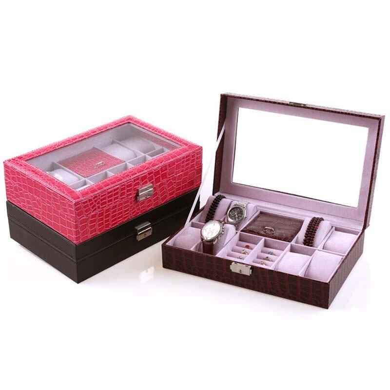 High-Grade Capacity Jewelry Box Makeup Organizer Faux Leather Case Jewelry Organizer Holder Watch Storage Organizer Box makeup organizer box
