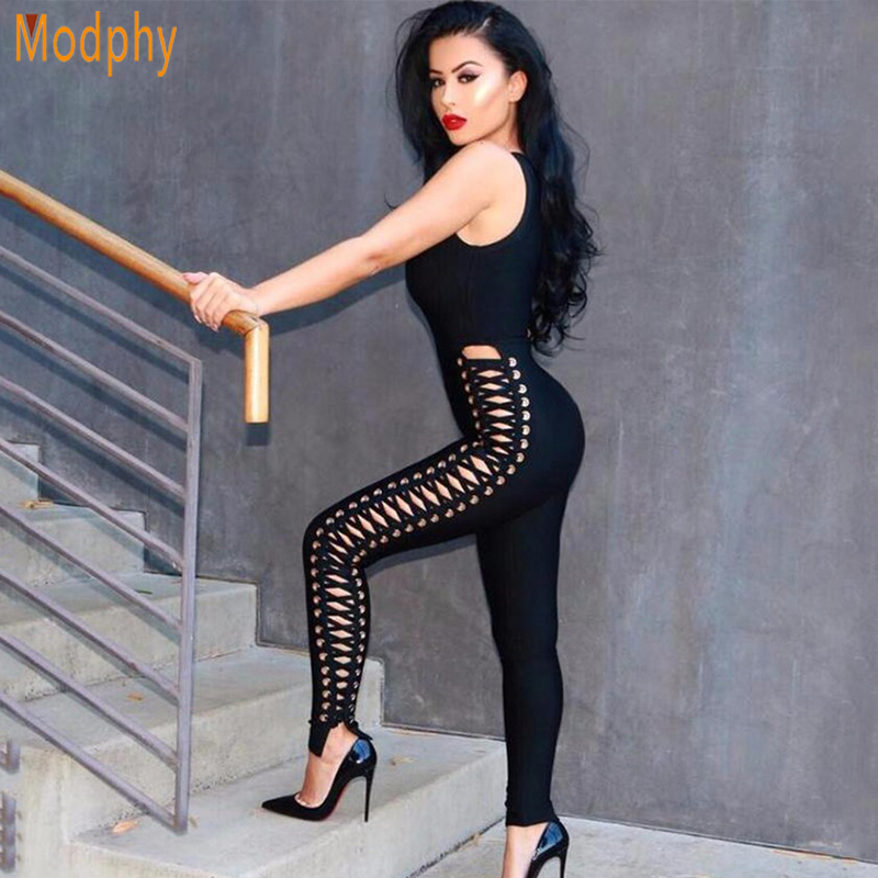 2017 new fashion women sexy hollow out sleeveless long black summer bandage jumpsuits dropshipping wholesale HL664