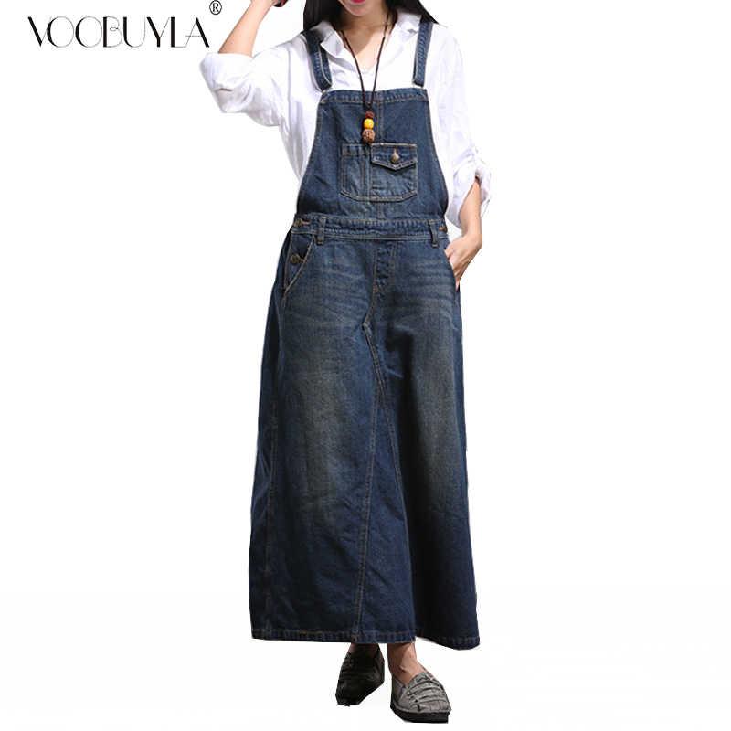 Voobuyla 2019 Мода Спагетти ремень джинсовые женские платья а-силуэт подтяжки свободные джинсы Макси платье поцарапанные длинные джинсы платье