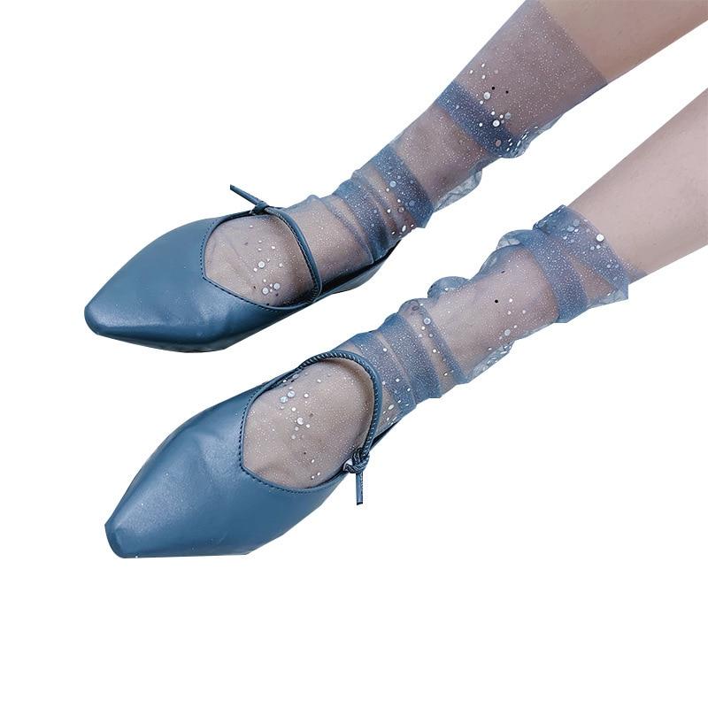 Women Girls Acrylic Glitter Stars Chic Mesh Transparent Sheer Thin Ankle Gauze StockingsNEW2019 in Stockings from Underwear Sleepwears
