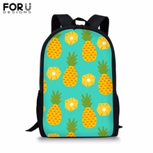 FORUDESIGNS Custom Made Backpack for Teenager Girls Boy Fruit Print School Bag Childrens BookBag Student Mochila Bolsa 2019