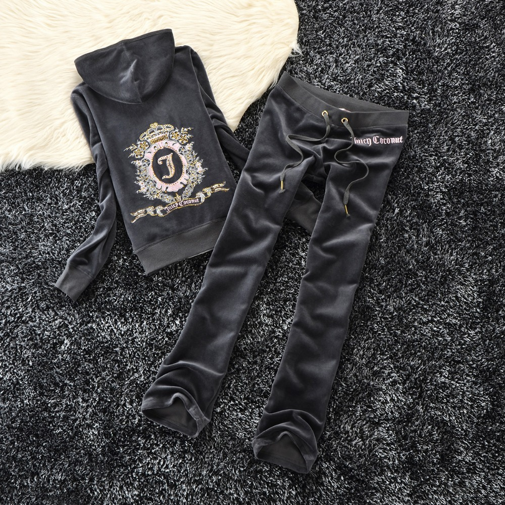 2018 Winter 2 pcs. Sets for skin care For women with letter print knitted sweatshirts Suit Top and pants warm Pullovers for wome