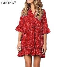 GIKING Summer Chiffon Dress For Women Polka Dot Sexy V-neck Loose Mini Party Half Sleeve Ruffles Boho Red Vestidos