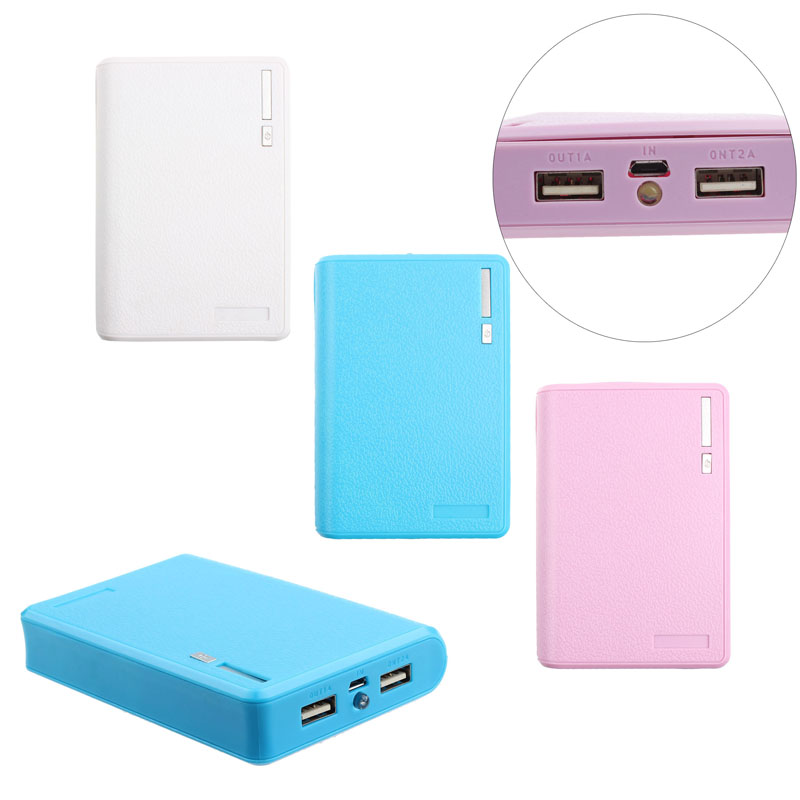 1pc USB 5V 2A Portbale Charger Support 4pcs 18650 Power Bank Battery Box Charger For iphone6 Smartphones With LED flashlight #S