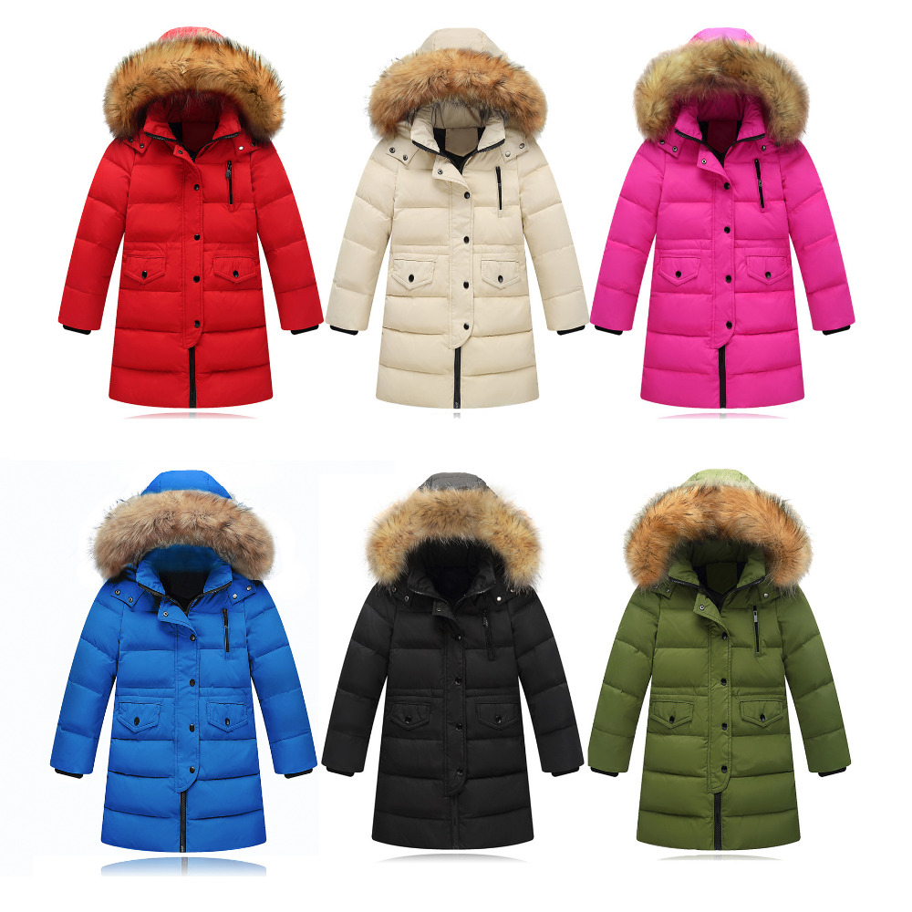 Fashion Solid Color Girl Winter Down Jackets Fake Fur Hooded Mid Long Unisex Children Coats Warm White Duck Down Kids Outerwears 2017 fashion girl winter down jackets children coats warm baby 90% thick duck down kids outerwears for cold 30 degree jacket