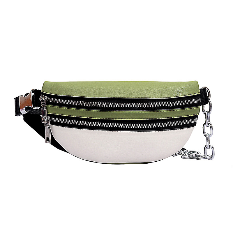 Fashion Casual Waist Bag PU Leather Chest Bag For Women Chain Messenger Crossbody Bags Cell Phone Pocket in Waist Packs from Luggage Bags