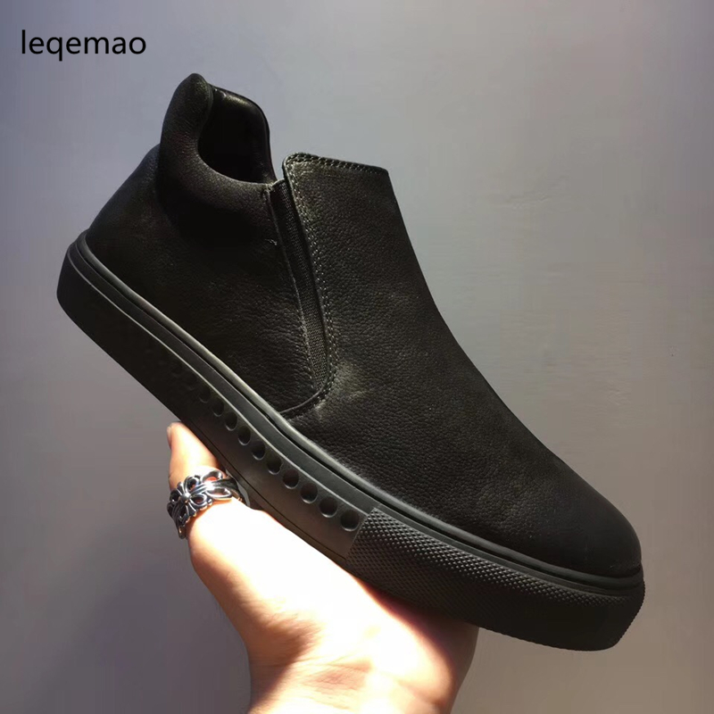 Hot Sale New Brand Fashion Luxury Men Loafers Comfortable Black Flats Casual Shoes High Quality Nuduck Genuine Leather Shoes hot sale men basic black winter warm fur shoes high top nuduck genuine leather luxury brand ankle snow boots flats size 38 44