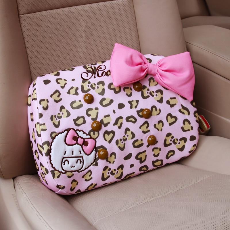 hot women cute pink leopard print car lumbar pillows back support for cars office chair back