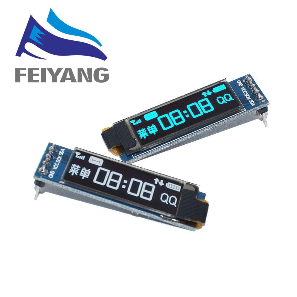 """10 قطعة 0.91 بوصة OLED وحدة 0.91 """"الأبيض/الأزرق OLED 128X32 OLED شاشة LCD LED وحدة 0.91"""" IIC التواصل-في وحدات LCD من المكونات واللوازم الإلكترونية على AliExpress"""