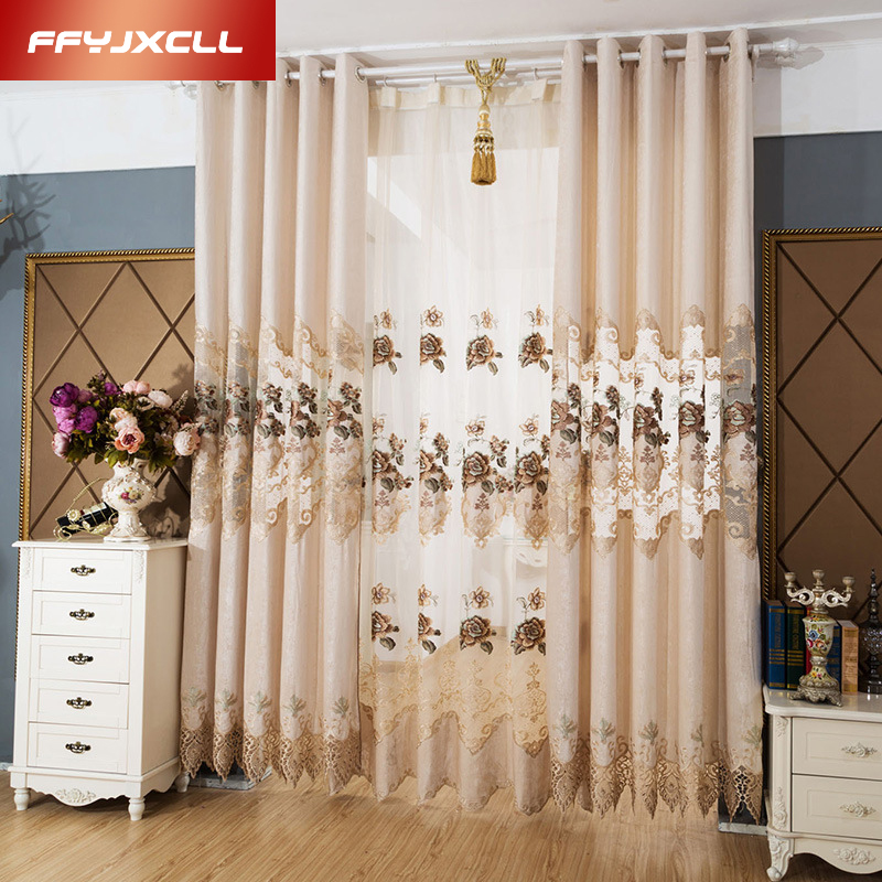 Chenille Embroidered European Royal Luxury Curtains for Bedroom Window Curtains for Living Room Elegant Drapes Tulle Curtains