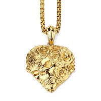 Kwiat Róży Sklll Wisiorek Naszyjnik Serce Hip Hop Biżuteria Prezent W Stylu Vintage Złoty Łańcuch Naszyjnik Moda Naszyjnik Ze Stali Nierdzewnej 23in