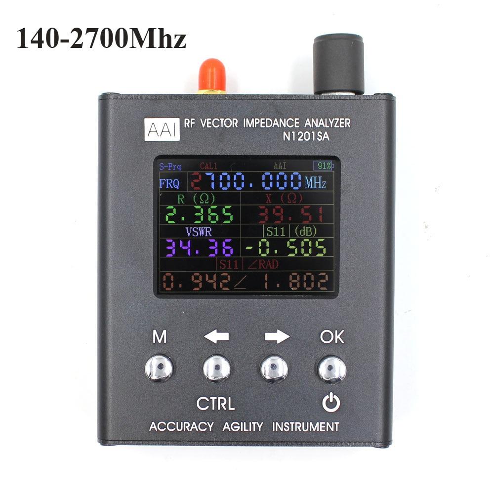 Inglese verison N1201SA UV RF Impedenza di Vettore ANT SWR Antenna Analyzer Tester del tester 140 MHz-2.7 GHz resistenza/impedenza/SWR