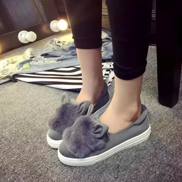 slip ons shoes platform flats 2016 New winter boots Fashion Real Fur Shoes Woman ears Shoes Female Low Cut Casuals leisures lady