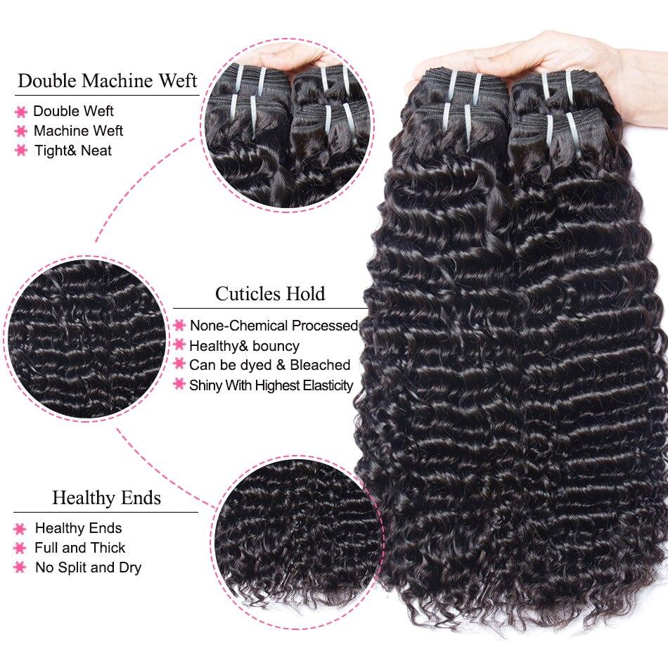 HTB1dS0JavjsK1Rjy1Xaq6zispXaQ Mshere 4PCS/LOT Peruvian Deep Curly Wave 3 Bundles With Closure Non Remy Hair Free Part Lace Closure With Human Hair Bundles 1B#