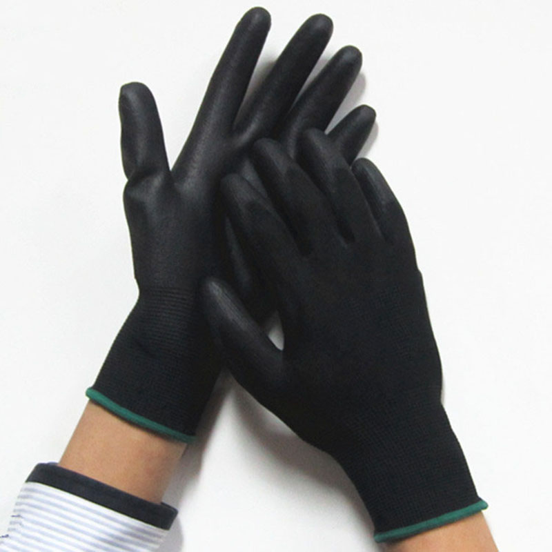 цена на Work Gloves black Palm Coated working gloves Workplace Safety Supplies Safety Gloves PU518 5pair/lot cut-resistant anti-static