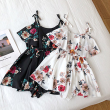 Floral Print Cut Out  Romper 2019 Fashion Summer Mid Waist Womens Romper Hollow Out Sleeveless V Neck Sexy Romper Ruffles sleeveless cut out dressy high neck pants romper