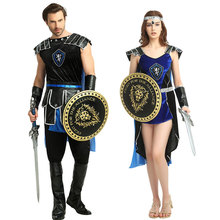 Halloween Costumes for Women Adult Blue Ancient Roman Greek Female Soldier Warrior Gladiator Fantasia Cosplay Dress polyresin ancient greek roman warrior armor model creative home decration aircraft gift
