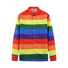 Autumn Features Long Sleeve Rainbow Shirts Men Casual Wide Striped Shirt New Arrival  Slim Fit Male Female Beach Clothing