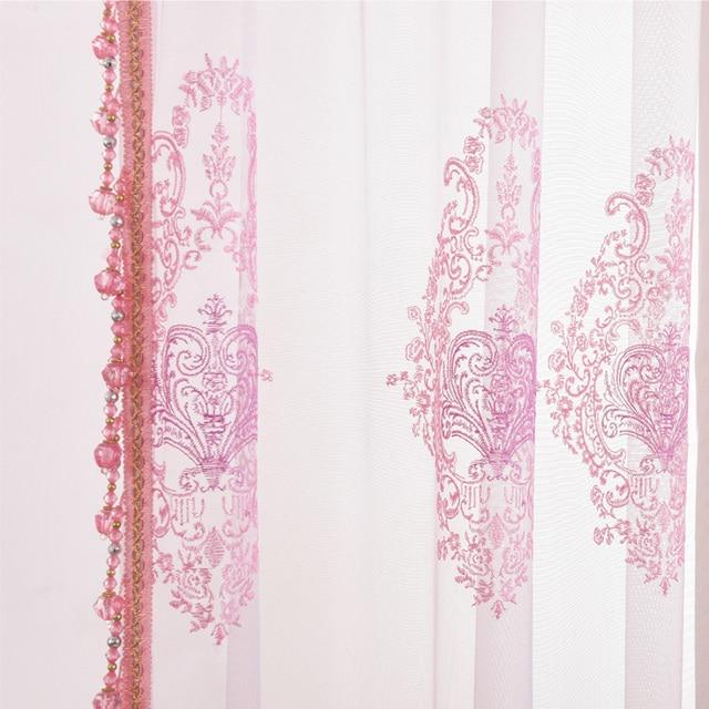 Europäischen stil rosa/braun Besticktem tüll Fenster Vorhänge für ...