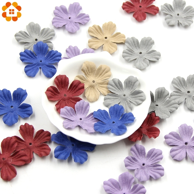 30pcs Small Exquisite Leather Flowers Handmade Artificial Flower