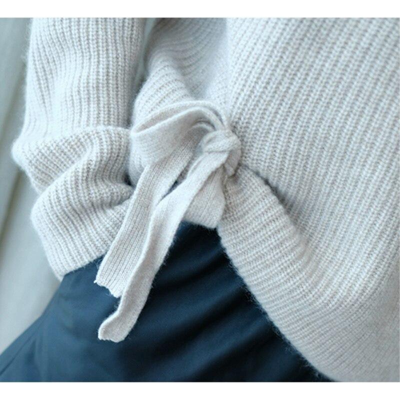 JECH Inverno Suéter de Cashmere Mulheres Presente de Natal Blusas de Malha Tartaruga Pescoço Quente Lady Lace Up Grade Para Cima Camisola Pulôveres e camisolas - 4