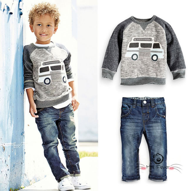 fall winter baby boys denim sets clothes kid car cartoon sweat t shirts jeans trousers track. Black Bedroom Furniture Sets. Home Design Ideas