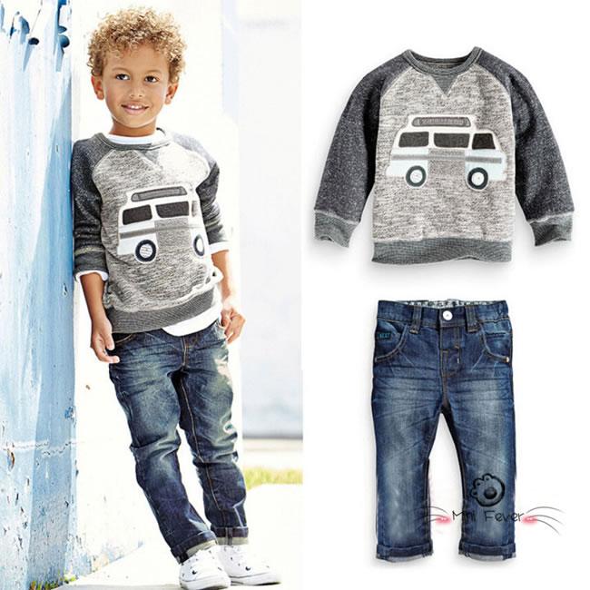 387fbc38819 Fall Winter Baby Boys Denim Sets Clothes Kid Car Cartoon Sweat T Shirts+Jeans  Trousers