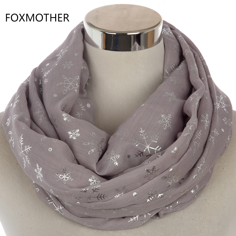 FOXMOTHER 2018 New Winter Women Shiny Grey Bronzing Foil Silver Snowflake Infinity Scarves Snood For Christmas