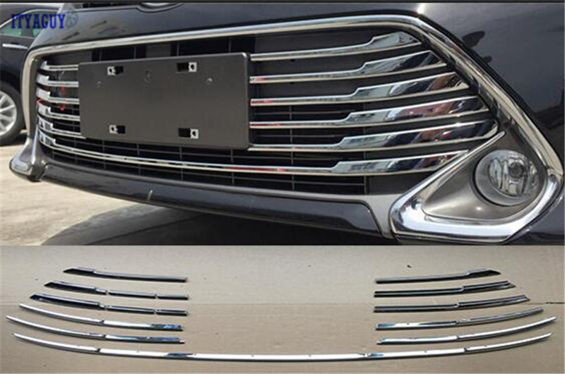 Car styling Car Front Grill Gille Trim  for Toyota Camry 2015Auto Grille Decoration Cover Trims free shipping 2007 2009 fit for toyota corolla high quality stainless steel front center grill grid grille cover trim car styling 2pcs