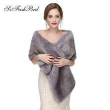 Теплые палантины из искусственного меха Свадебные обертывания зимние длинные свадебные Болеро пиджак Свадебные накидки Пальто Аксессуары свадебные накидки пальто