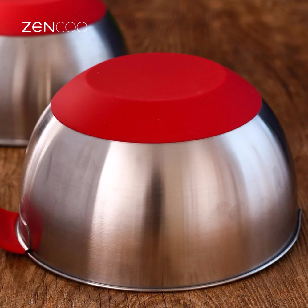 ZENCOO Stainless Steel Mixing Bowl with Silicone Base and Handle, Container with Pour Spout, Egg Mixing Bowls