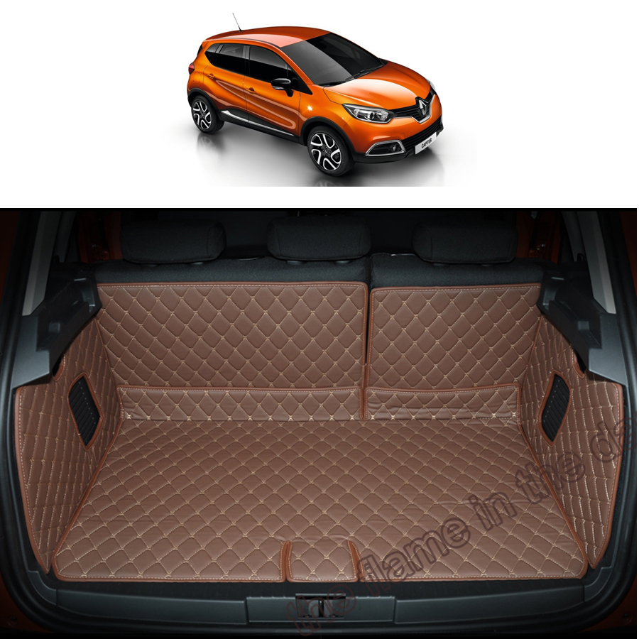 custom fit pu leather car trunk mat cargo mat for renault captur kaptur renault samsung qm3 2014. Black Bedroom Furniture Sets. Home Design Ideas