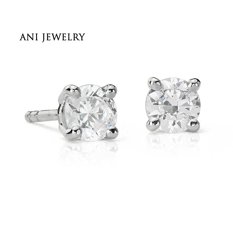 купить ANI 18K White Gold (AU750) Women Wedding Stud Earrings 0.4 CT Certified I/S2 Round Cut Natural Diamond Earrings aretes de mujer по цене 118470 рублей