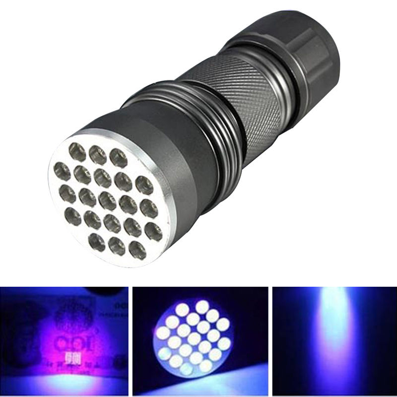 Portable Flash Lights UV Ultra Violet 21 LED UV 395-400 nm Flashlight Mini Blacklight Aluminum Torch Light Lamp 3x AAA Battery free shipping tank007 tk 566 cree 3w uv led aluminum flashlight 395 400 nm high quality