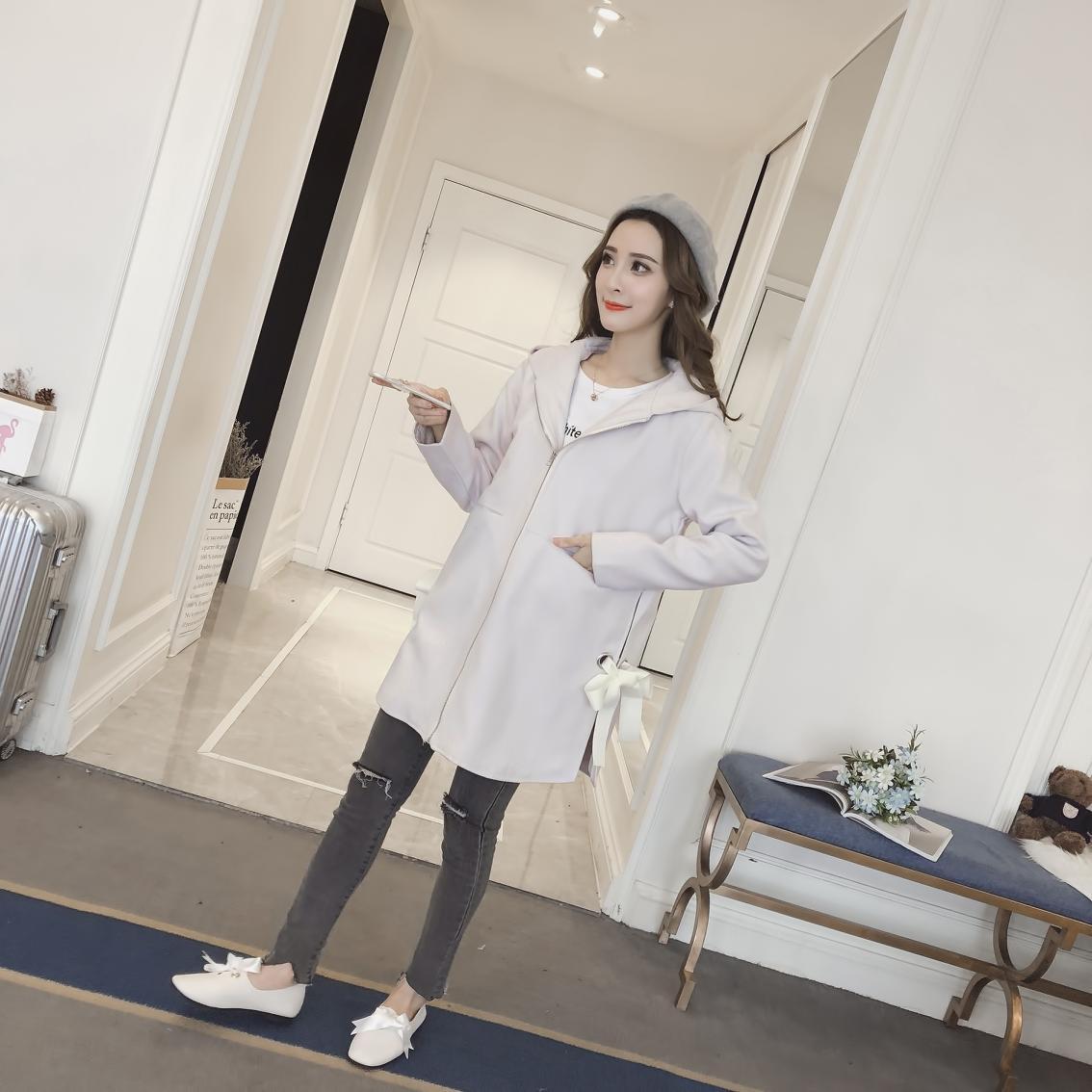 Pengpious 2019 autunno inverno di maternità bowknot vestiti di lana con cappuccio cappotto di gravidanza trapuntato ispessimento outwear giacche + tasche