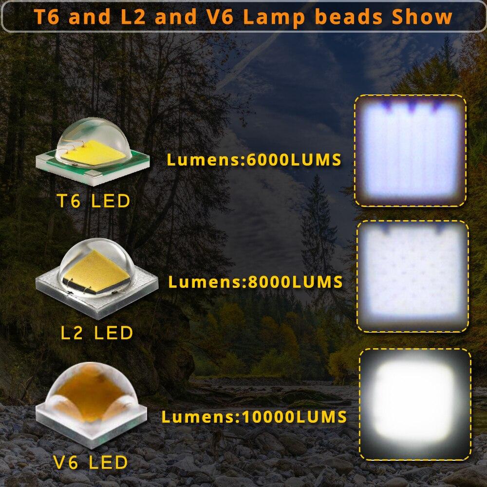 10000 lúmenes LED Linterna T6 / L2 / V6 Granos de lámpara Linternas - Iluminación portatil - foto 6