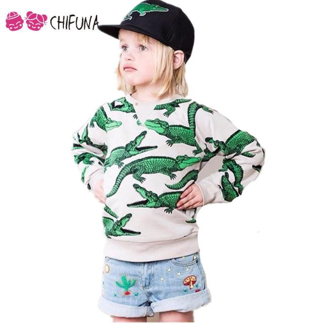 1-10 Years Kids Sweatshirts Fashion Crocodile Pattern Autumn Long Sleeve Boys Girls Hoodies Outerwear Children Sweatshirt