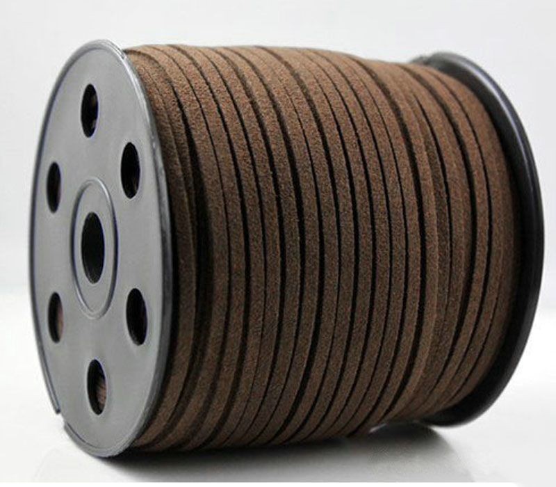 RE 100 Yards 3mm x 1.5mm Flat Faux Suede Korean Velvet Leather Cord String Rope Thread Lace Findings Dark brown Color Rope