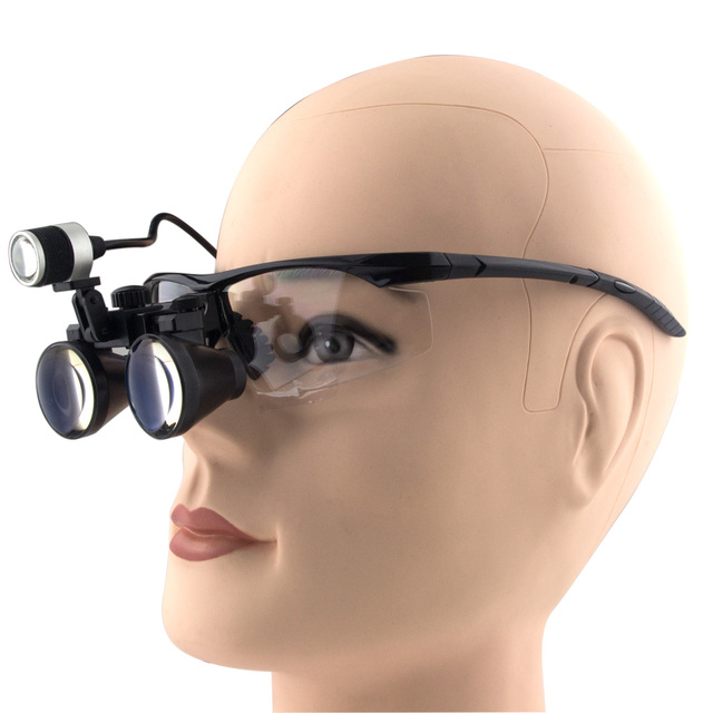 3.5x Magnification Professional APD Loupes with BP Frame and Mounted LED Head Light forSurgical, Jeweler, or Hobby