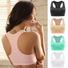 Women Female Dry Quick Push Up Natural Color Sports Bra Tank Tops Yoga Shirt with Padding For Running Fitness Gym Bras