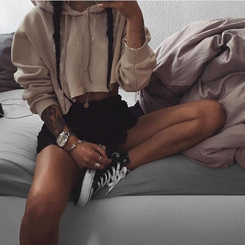 New Fashion 2016 Women hoodies Ladies Solid Hooded Long Sleeve Crop Sweatshirt Polerones Mujer
