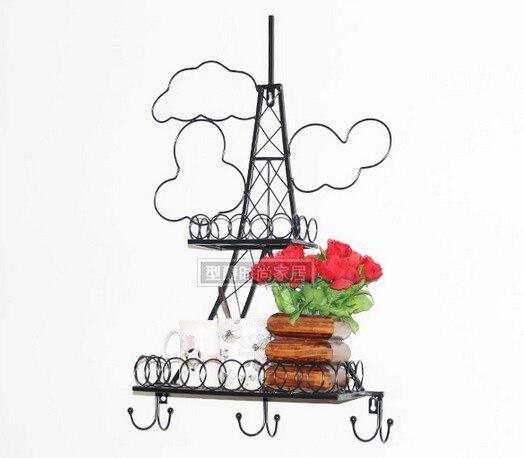 Free shipping black decorative Eiffel storage shelves Iron craft Wall Rack shower caddy bathroom kitchen accessories