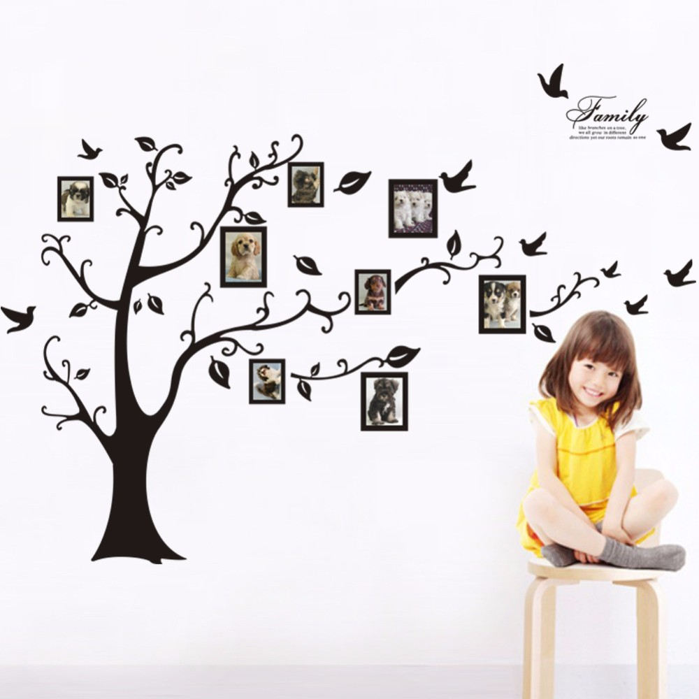 Image 2 - Large 200*250Cm/79*99in Black 3D DIY Photo Tree PVC Wall Decals/Adhesive Family Wall Stickers Mural Art Home Decor-in Wall Stickers from Home & Garden
