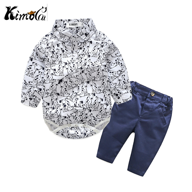 Kimocat new next Spring and autumn cotton long sleeve cartoon cute puppy design jumpsuits + leisure sports pants Baby boys suit