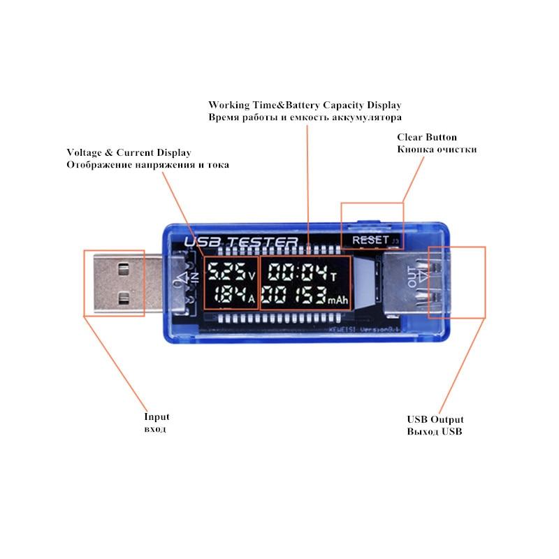 Skaitmeninis USB mobilus maitinimo įkrovimo srovės įtampa Testerio - Matavimo prietaisai - Nuotrauka 3