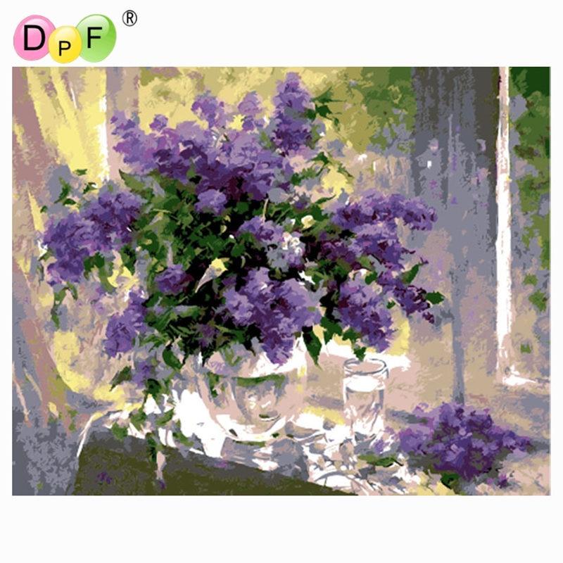 Frameless Canvas Art Oil Painting Flower Painting Design: DPF Oil Painting By Numbers Frameless Paint On Canvas Wall