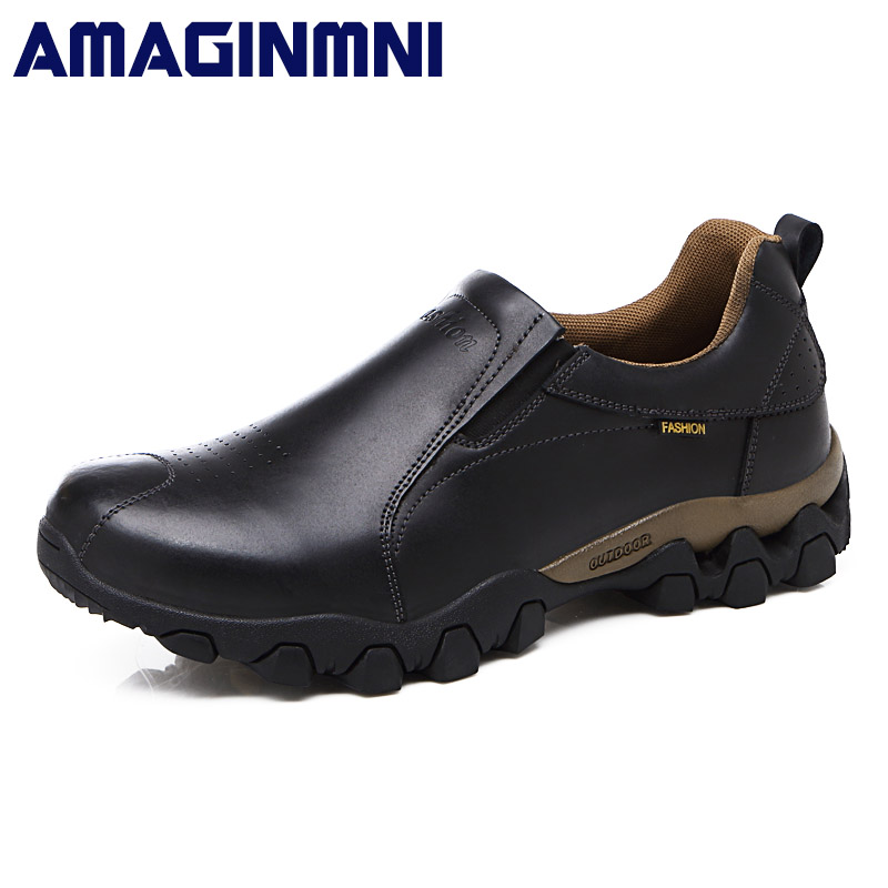 Quality Genuine Leather Shoes Men Casual Shoes 2018 Spring Waterproof Slip On Men Shoes Flats Anti-Skid Casual Leather Shoes hot sale mens italian style flat shoes genuine leather handmade men casual flats top quality oxford shoes men leather shoes